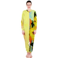 Background Flowers Yellow Bright Onepiece Jumpsuit (ladies)