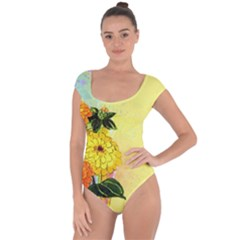 Background Flowers Yellow Bright Short Sleeve Leotard