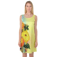 Background Flowers Yellow Bright Sleeveless Satin Nightdress
