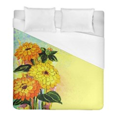 Background Flowers Yellow Bright Duvet Cover (full/ Double Size) by Nexatart