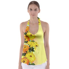 Background Flowers Yellow Bright Babydoll Tankini Top