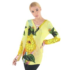 Background Flowers Yellow Bright Tie Up Tee