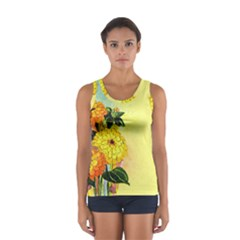 Background Flowers Yellow Bright Sport Tank Top