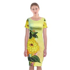 Background Flowers Yellow Bright Classic Short Sleeve Midi Dress