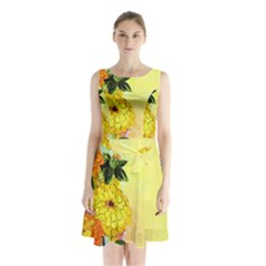 Background Flowers Yellow Bright Sleeveless Waist Tie Chiffon Dress