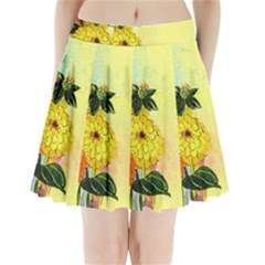 Background Flowers Yellow Bright Pleated Mini Skirt