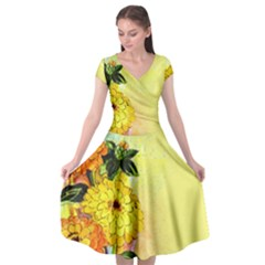 Background Flowers Yellow Bright Cap Sleeve Wrap Front Dress