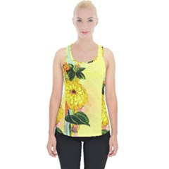 Background Flowers Yellow Bright Piece Up Tank Top