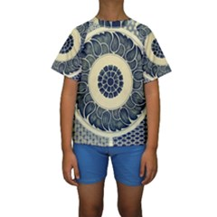 Background Vintage Japanese Kids  Short Sleeve Swimwear