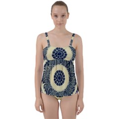 Background Vintage Japanese Twist Front Tankini Set