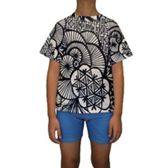 Background Abstract Beige Black Kids  Short Sleeve Swimwear