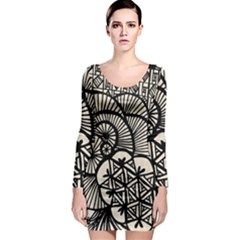 Background Abstract Beige Black Long Sleeve Bodycon Dress