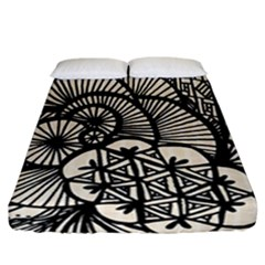 Background Abstract Beige Black Fitted Sheet (california King Size)