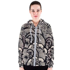 Background Abstract Beige Black Women s Zipper Hoodie