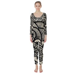 Background Abstract Beige Black Long Sleeve Catsuit