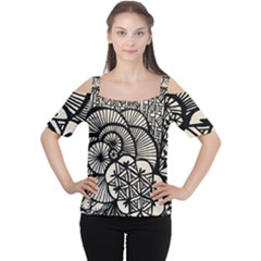 Background Abstract Beige Black Cutout Shoulder Tee
