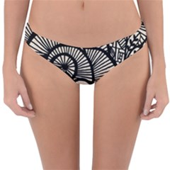 Background Abstract Beige Black Reversible Hipster Bikini Bottoms