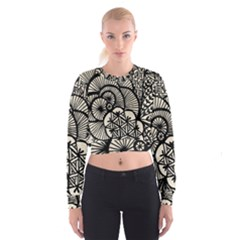 Background Abstract Beige Black Cropped Sweatshirt