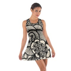 Background Abstract Beige Black Cotton Racerback Dress