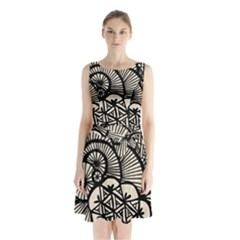 Background Abstract Beige Black Sleeveless Waist Tie Chiffon Dress