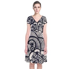 Background Abstract Beige Black Short Sleeve Front Wrap Dress