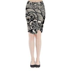 Background Abstract Beige Black Midi Wrap Pencil Skirt