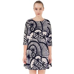Background Abstract Beige Black Smock Dress