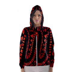 Background Abstract Red Black Hooded Wind Breaker (women)