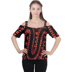 Background Abstract Red Black Cutout Shoulder Tee