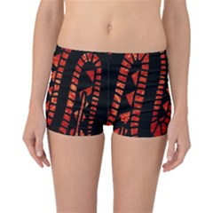 Background Abstract Red Black Boyleg Bikini Bottoms
