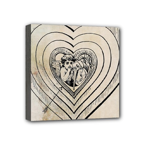 Heart Drawing Angel Vintage Mini Canvas 4  X 4