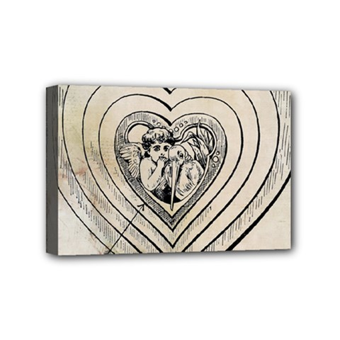 Heart Drawing Angel Vintage Mini Canvas 6  X 4