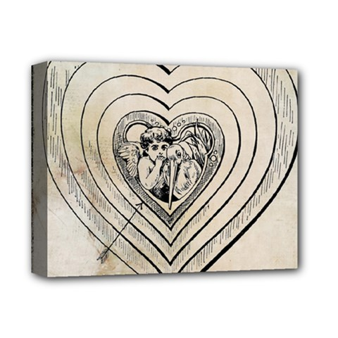 Heart Drawing Angel Vintage Deluxe Canvas 14  X 11
