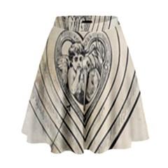 Heart Drawing Angel Vintage High Waist Skirt