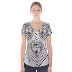 Heart Drawing Angel Vintage Short Sleeve Front Detail Top