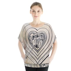 Heart Drawing Angel Vintage Blouse
