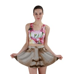 Moon Face Vintage Design Sepia Mini Skirt