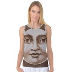 Moon Face Vintage Design Sepia Women s Basketball Tank Top
