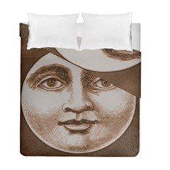 Moon Face Vintage Design Sepia Duvet Cover Double Side (full/ Double Size)