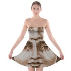 Moon Face Vintage Design Sepia Strapless Bra Top Dress