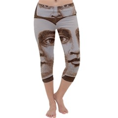 Moon Face Vintage Design Sepia Capri Yoga Leggings