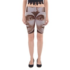 Moon Face Vintage Design Sepia Yoga Cropped Leggings