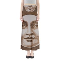 Moon Face Vintage Design Sepia Full Length Maxi Skirt