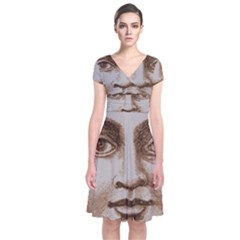 Moon Face Vintage Design Sepia Short Sleeve Front Wrap Dress