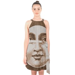 Moon Face Vintage Design Sepia Halter Collar Waist Tie Chiffon Dress