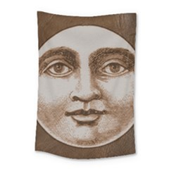 Moon Face Vintage Design Sepia Small Tapestry