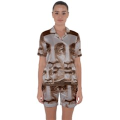 Moon Face Vintage Design Sepia Satin Short Sleeve Pyjamas Set
