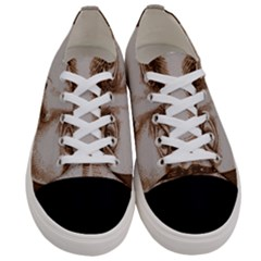 Moon Face Vintage Design Sepia Women s Low Top Canvas Sneakers