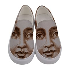 Moon Face Vintage Design Sepia Women s Canvas Slip Ons