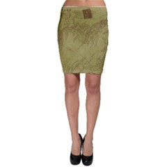 Vintage Map Background Paper Bodycon Skirt